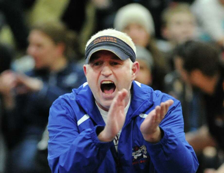 Danbury wrestling coach Ricky Shook during the FCIAC championships in 2016. Photo: Hearst Connecticut Media File Photo / Greenwich Time