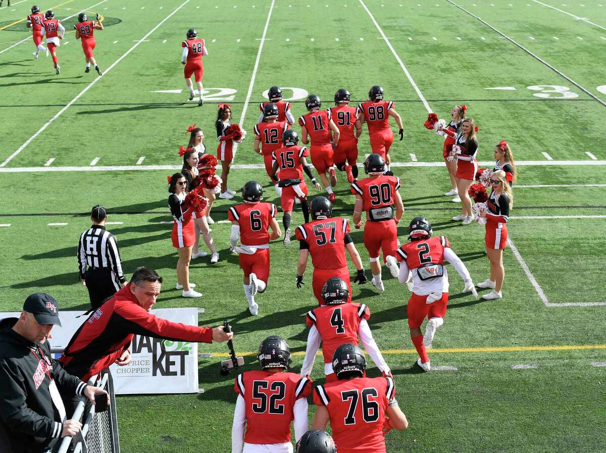 Rensselaer Polytechnic Institute players take the field against Buffalo State during the first half of an NCAA football game Saturday, Nov. 2, 2019, in Troy, N.Y.