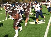 Jalen Madison led the Brunswick School football team's running game in its 20-7 win vs. visiting Trinity-Pawling School on Saturday, November 2, 2019.