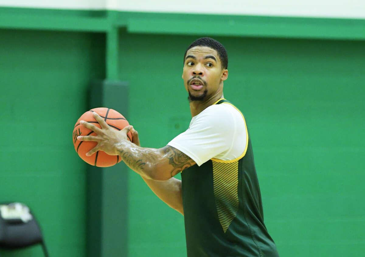 Siena men's basketball player Elijah Burns takes part in practice on Thursday, Oct. 31, 2019, in Loudonville, N.Y. (Paul Buckowski/Times Union)
