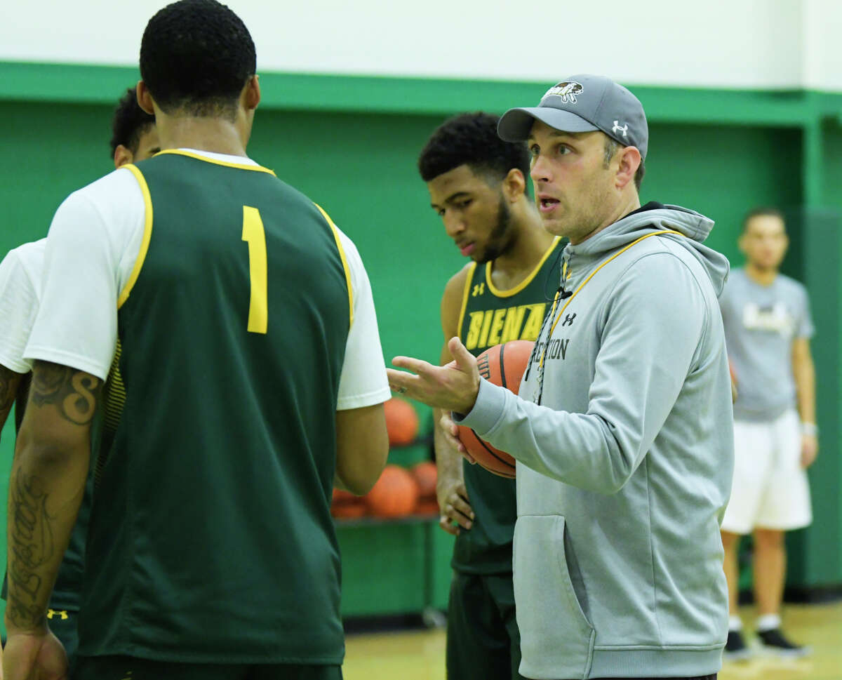 Siena men's basketball head coach, Carmen Maciariello works with his players at practice on Thursday, Oct. 31, 2019, in Loudonville, N.Y. (Paul Buckowski/Times Union)