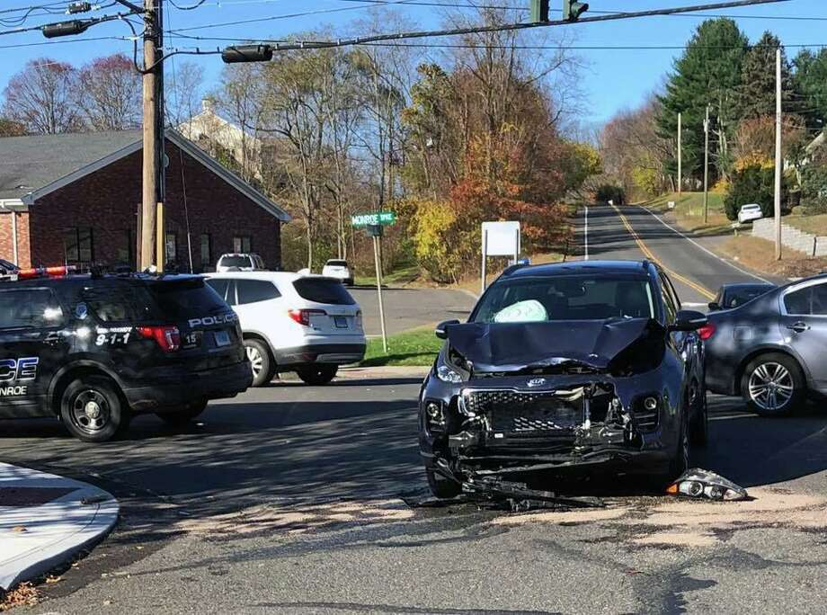 There were no significant injuries in a crash at the intersection of Route 111 and Cross Hill Road in Monroe, Conn., on Saturday, Nov. 2, 2019. Photo: Contributed Photo / Monroe Volunteer Fire Department