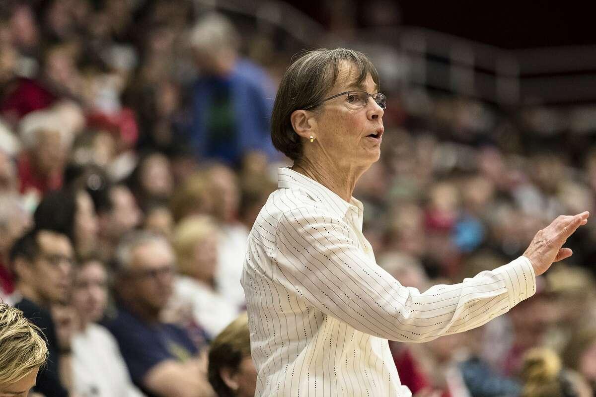 Stanford head coach Tara VanDerveer gestures in the second quarter of an exhibition women's basketball game against Team USA, Saturday, Nov. 2, 2019, in Stanford, Calif. (AP Photo/John Hefti)
