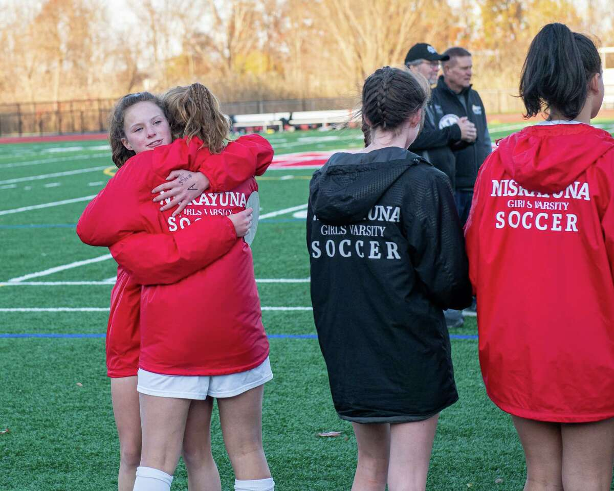 Niskayuna players react after losing the Section II, Class AA championship to Bethlehem at Mechanicville High School on Saturday, Nov. 1, 2019 (Jim Franco/Special to the Times Union.)