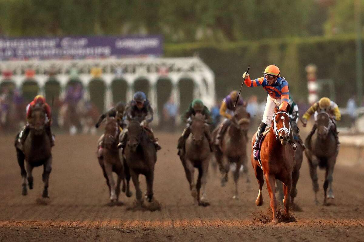 ARCADIA, CALIFORNIA - NOVEMBER 02: Jockey Irad Ortiz Jr. aboard Vino Rosso reacts after winning the Breeders' Cup Classic race at Santa Anita Park on November 02, 2019 in Arcadia, California. (Photo by Sean M. Haffey/Getty Images)
