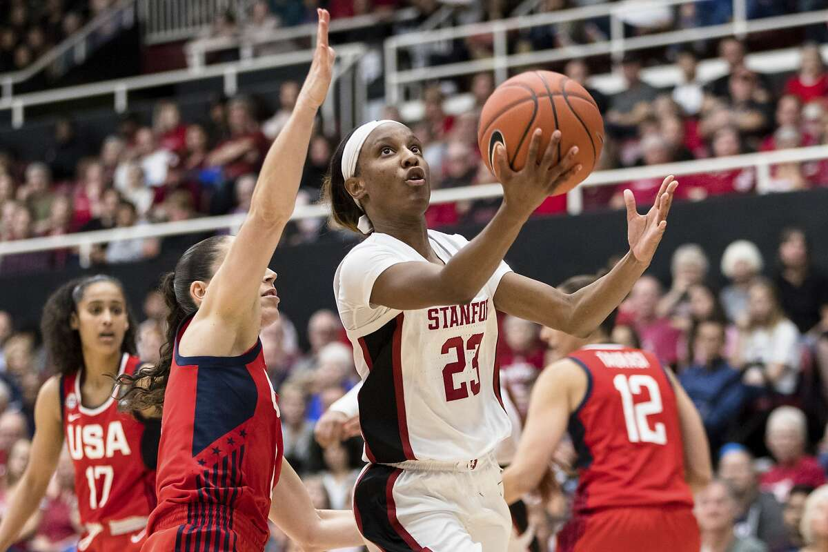 Stanford guard Kiana Williams (23) shoots against the U.S. in the fourth quarter of an exhibition women's basketball game, Saturday, Nov. 2, 2019, in Stanford, Calif. (AP Photo/John Hefti)