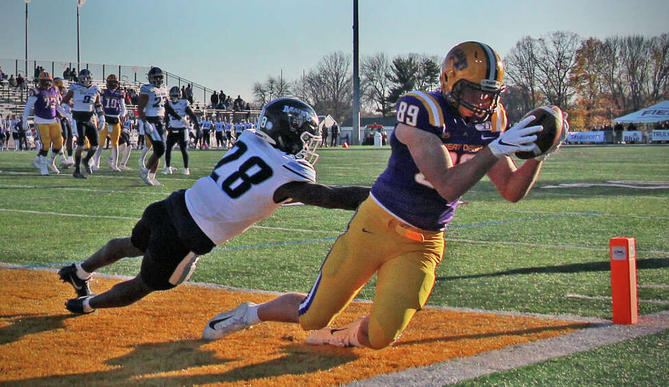UAlbany tight end Thomas Greaney catches a pass from quarterback Jeff Undercuffler to score in the 2nd quarter. The Maine Black Bears beat the Danes 47-31 on Saturday, Nov. 2, 2019 at UAlbany during the NCAA football game in Albany, N.Y.