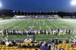 Fans watch University at Albany play Maine during an NCAA football game Saturday, Nov. 2, 2019, in Albany, N.Y.