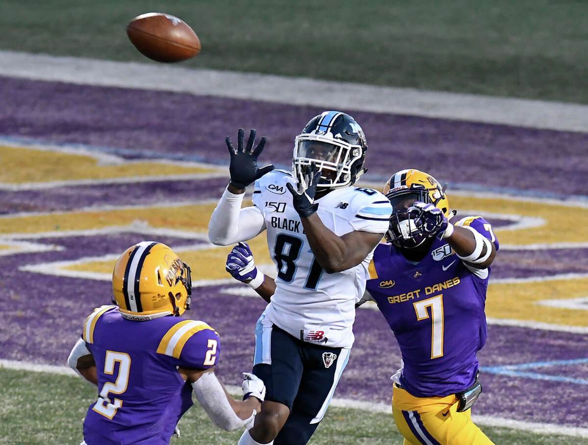 Maine wide receiver Earnest Edwards (81) makes a catch for a touchdown while being defended by University at Albany cornerbacks Tyler Carswell (2) and Jarren Williams (7) during an NCAA football game Saturday, Nov. 2, 2019, in Albany, N.Y.