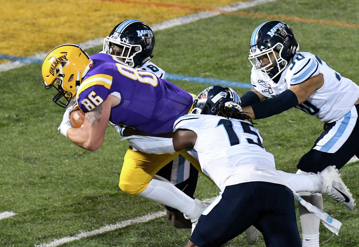 University at Albany tight end LJ Wesneski (86) runs with the ball after making a catch against Maine during an NCAA football game Saturday, Nov. 2, 2019, in Albany, N.Y.