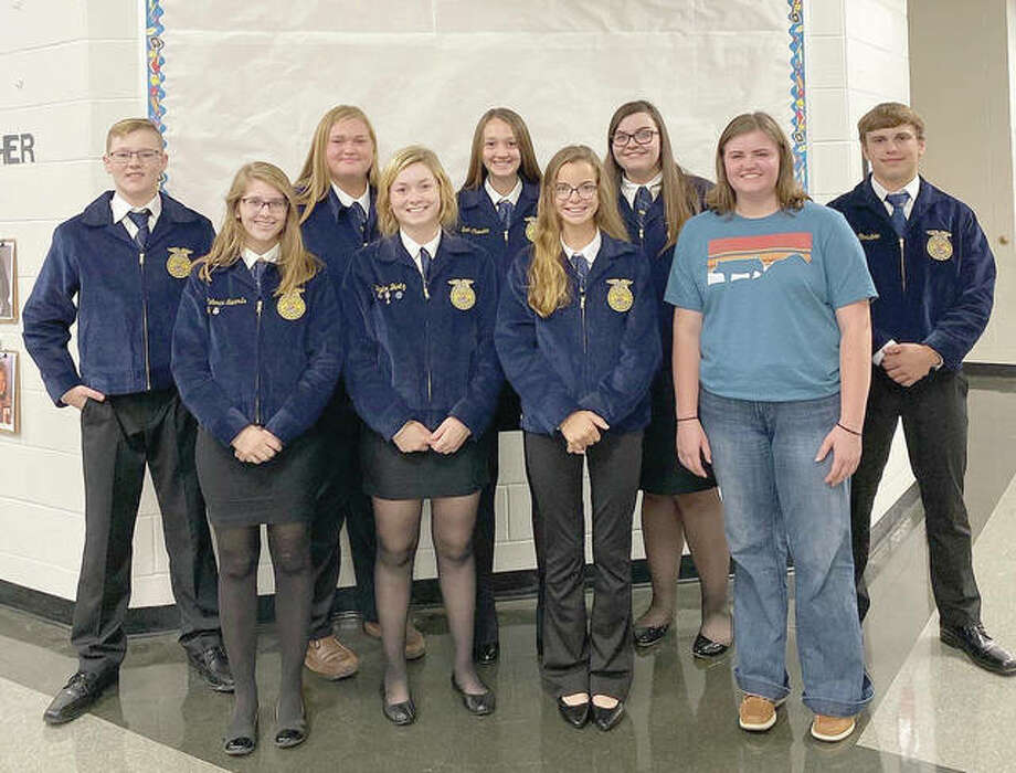 Jacksonville FFA recently competed in the Section 13 Ag Sales and Job Interview CDEs at Griggsville-Perry. Allison Wheeler placed second in product display. Rebecca Edwards received third in person customer complaint. Skylar Bartz was fifth in print ad. Alex Dufelmeier was fifth in sales presentation. Three people competed in the job interview category. Lydia Pool was first in crop science, Emma Taylor was third in animal science, and Nora Chaudoin was fourth in ag education. Photo: Photo Provided