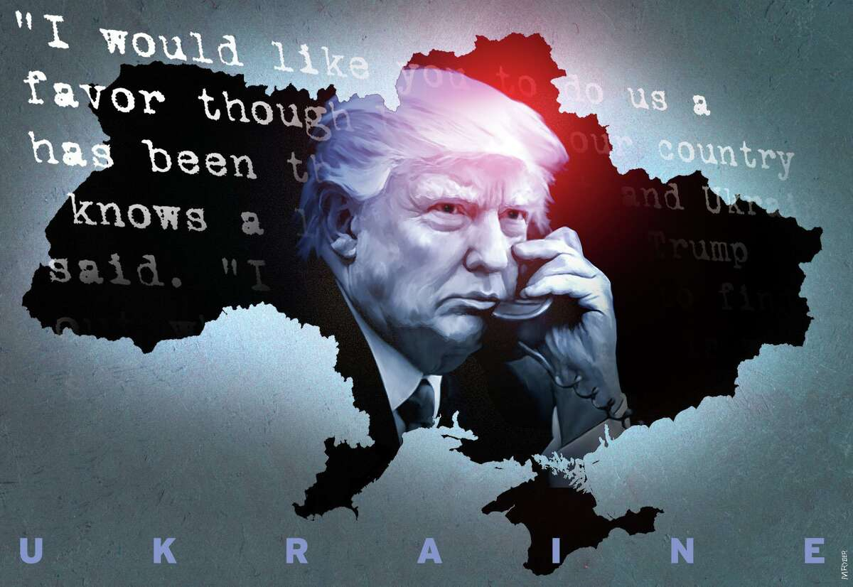 This artwork by M. Ryder refers to Trumps disastrous Ukraine call.