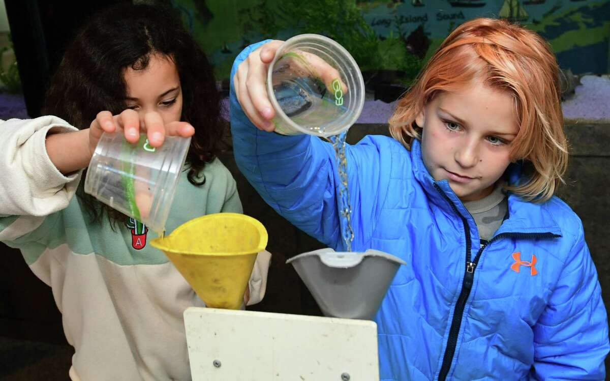 Sixth graders from Dolan Middle School including Safira Gloria and Vitaliy Lonevsky work on experiments to learn about how plastics enter the ecosystem in conjunction with the The One Million Bottle Cap Challenge Friday, November 1, 2019, at the Soundwaters headquarters at Cove Island Park in Stamford, Conn. SoundWaters has launched the initiative with Stamford Public Schools to have students remove one million bottle caps before they reach the Sound during the school year.