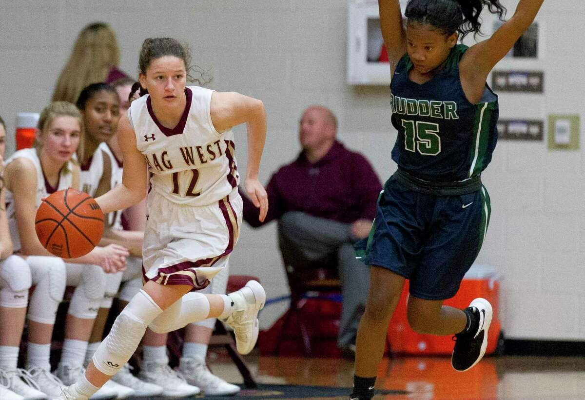 Magnolia West guard Megan Donnelly (12) scored a team-high 20 points against Cy-Fair.