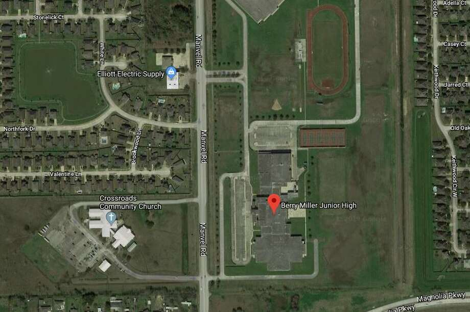 Police are searching for a suspect who bashed in dozens of windows at three Pearland ISD schools on FM1128. Photo: Google Maps