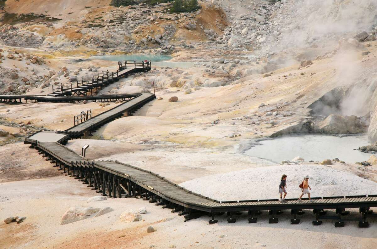 Bumpass Hell, Lassen Volcanic National Park Walk the boardwalk that traverses a 16-acre cauldron of scalding ponds and mud pots.