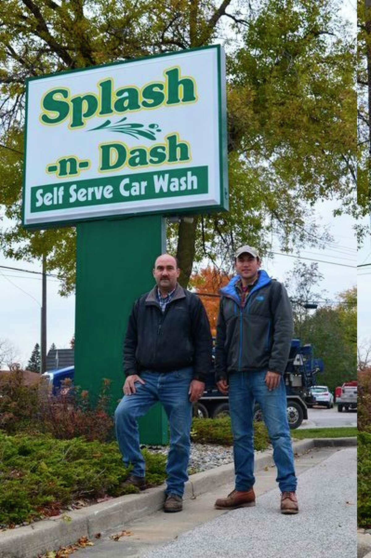 Randy Weiss and his son, Ryan, stand outside of Splash-N-Dash Car Wash, located at 3307 Bay City Road in Midland. (Photo by Emily Davis)