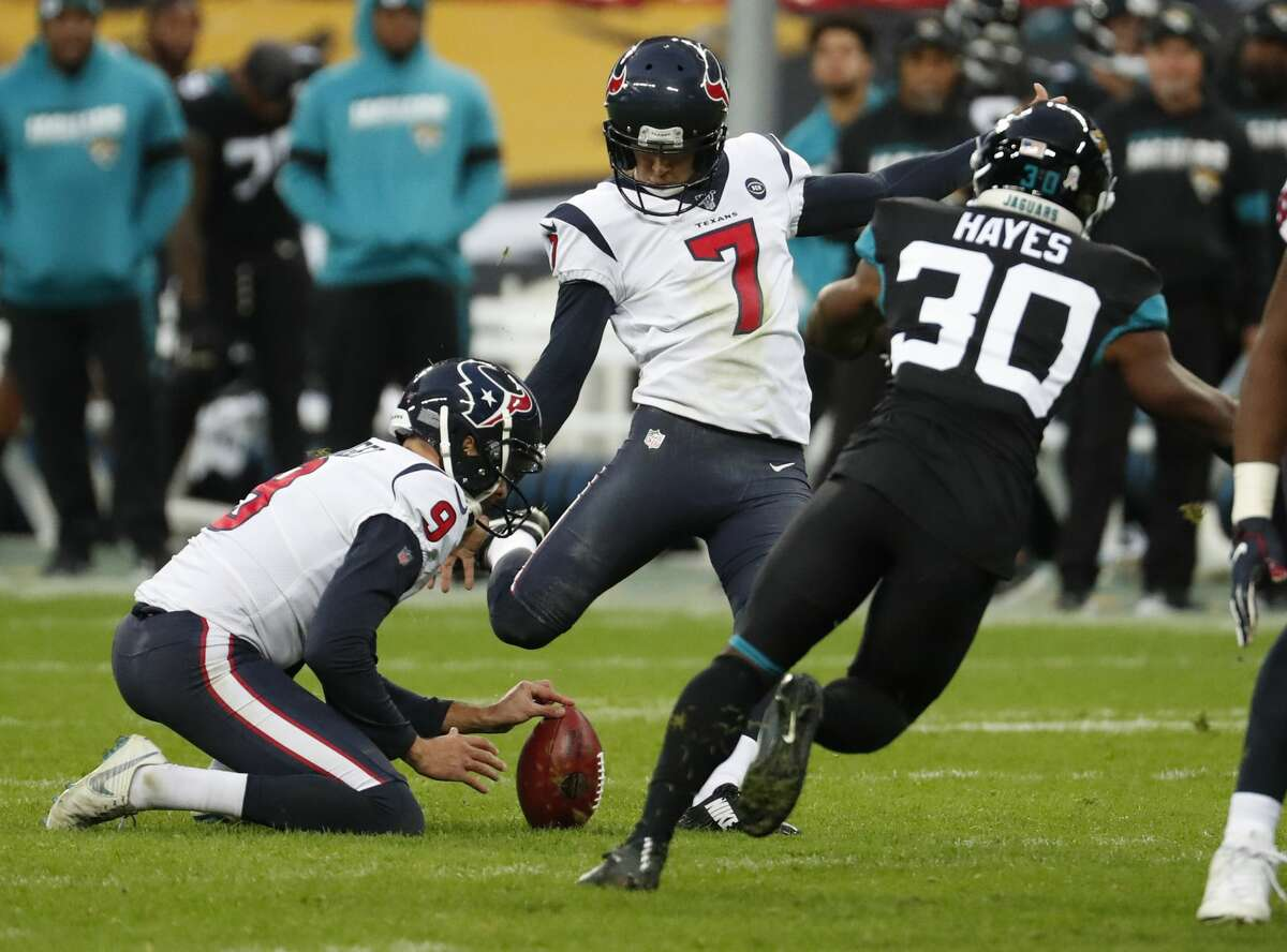 Houston Texans kicker Ka'imi Fairbairn (7) kicks a 42-yard field goal against the Jacksonville Jaguars during the third quarter of an NFL football game at Wembley Stadium on Sunday, Nov. 3, 2019, in London.