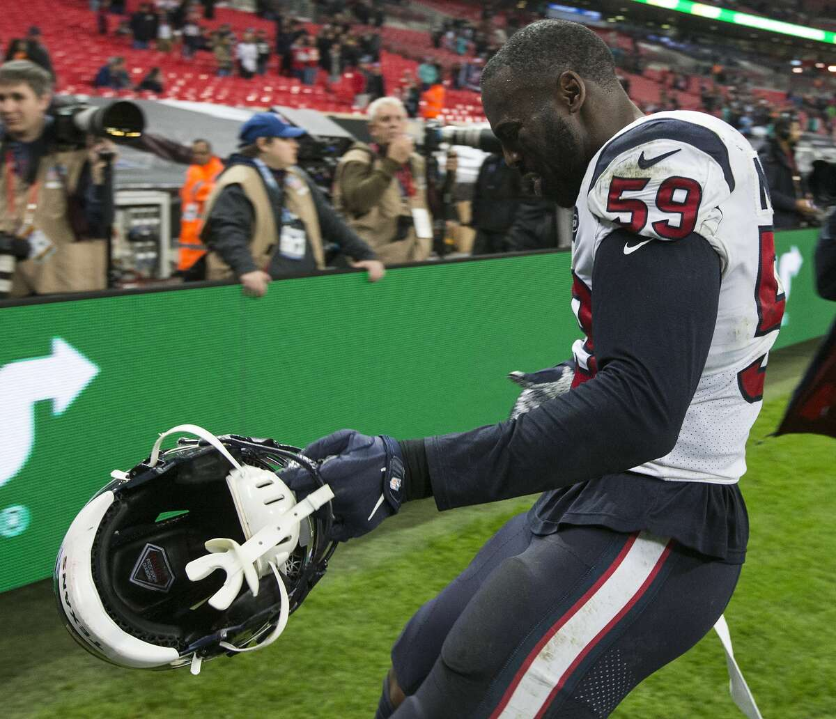 Houston Texans outside linebacker Whitney Mercilus celebrates the Texans 26-3 win over the Jacksonville Jaguars at Wembley Stadium on Sunday, Nov. 3, 2019, in London.