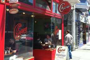 The red-painted entryway of Chow's Church Street location in San Francisco. The comfort food chain has filed for bankruptcy.