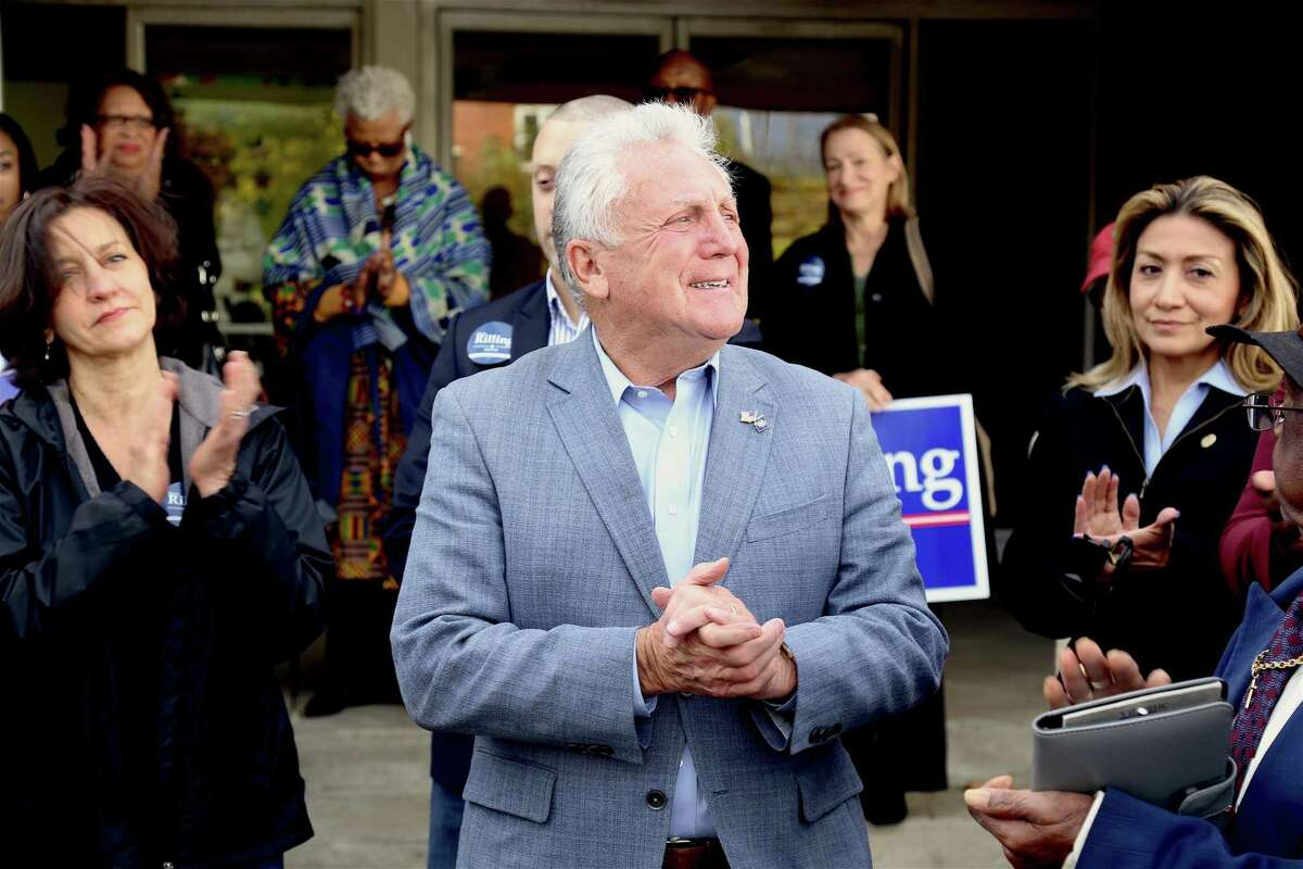 Mayor Harry Rilling addresses his supporters Sunday at a rally in South Norwalk.