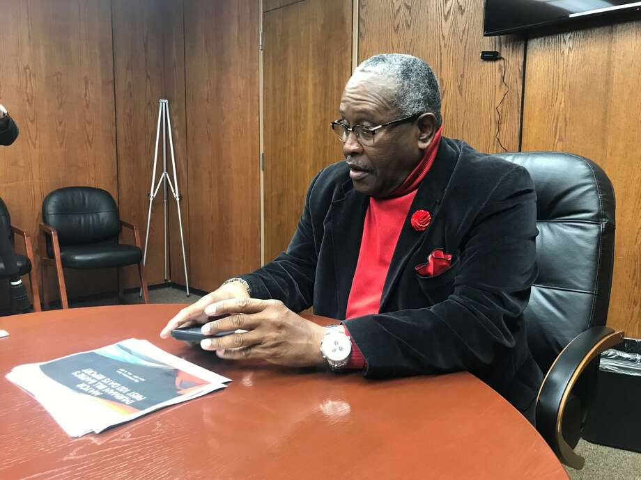 """Port Arthur Mayor Thurman """"Bill"""" Bartie sat down with reporters Friday to talk about his first 100 days in office. Photo: The Enterprise"""