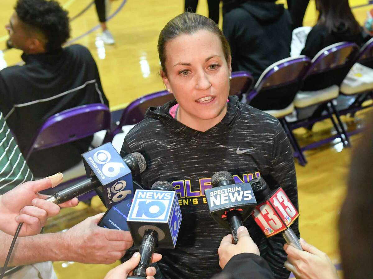 University at Albany Women's Basketball head coach Colleen Mullen speaks to reporters during Basketball media day at the SEFCU Arena Thursday, Oct. 24, 2019, in Albany, N.Y. (Hans Pennink / Special to the Times Union)