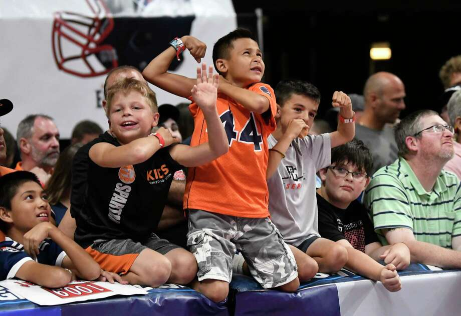 Fans watch the Albany Empire play the Philadelphia Soul during the second half of the ArenaBowl XXXII football game at the Times Union Center, Sunday, Aug. 11, 2019, in Albany, N.Y. Albany Empire won 45-27. (Hans Pennink / Special to the Times Union) Photo: Hans Pennink / Hans Pennink