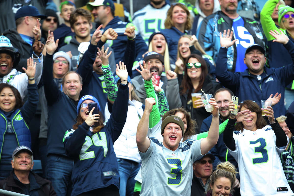 Seahawks fans cheer in the second quarter of Seattle's game against Tampa Bay, Sunday, Nov. 3, 2019 at CenturyLink Field. The Seahawks won 40-34 in overtime.