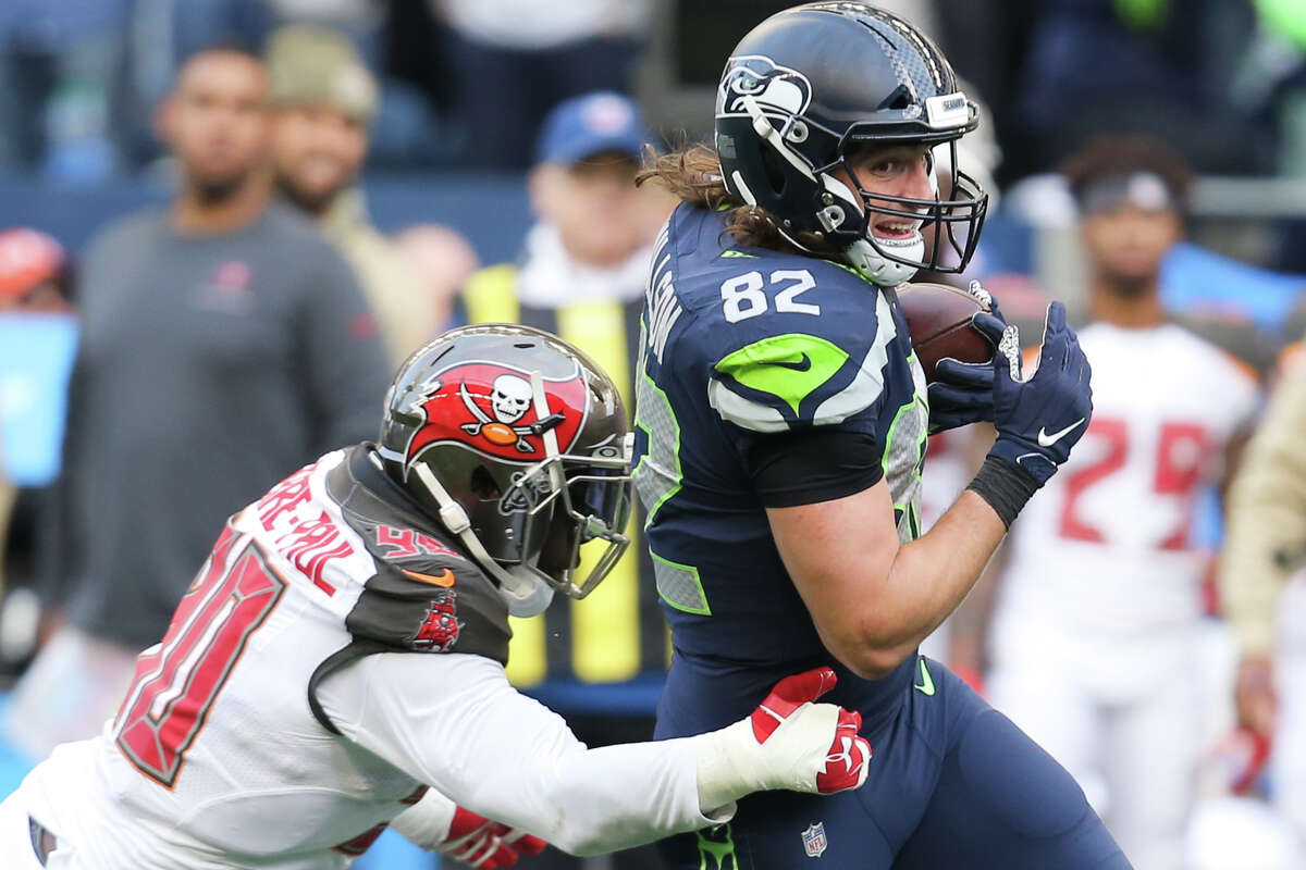 Seattle Seahawks tight end Luke Willson (82) picks up 16-yards in the third quarter of Seattle's game against Tampa Bay, Sunday, Nov. 3, 2019 at CenturyLink Field. The Seahawks won 40-34 in overtime.