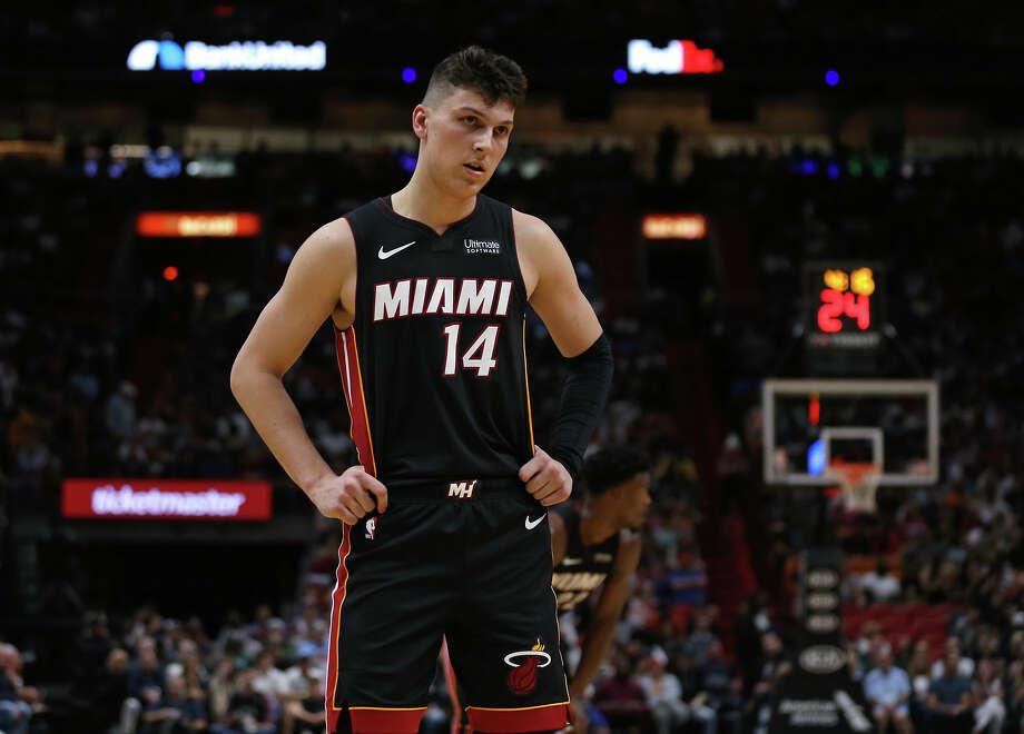 Miami Heat guard Tyler Herro (14) looks on in the third quarter against the Houston Rockets on Sunday, Nov. 3, 2019 at the AmericanAirlines Arena in Miami, Fla. (David Santiago/Miami Herald/TNS) Photo: DAVID SANTIAGO/TNS