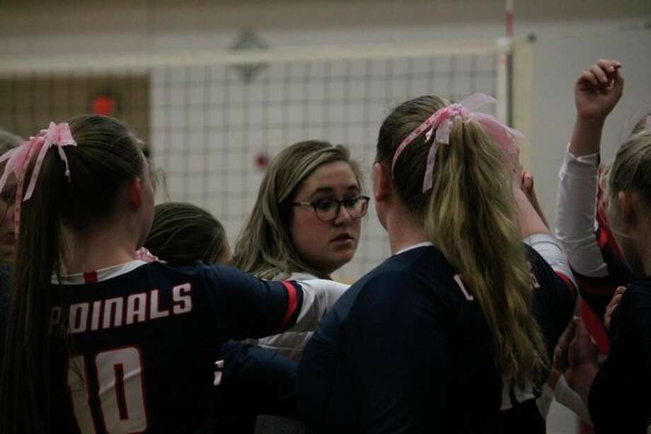 Big Rapids volleyball coach Chelsea Nelson talks to her team during recent action. (Pioneer file photo)