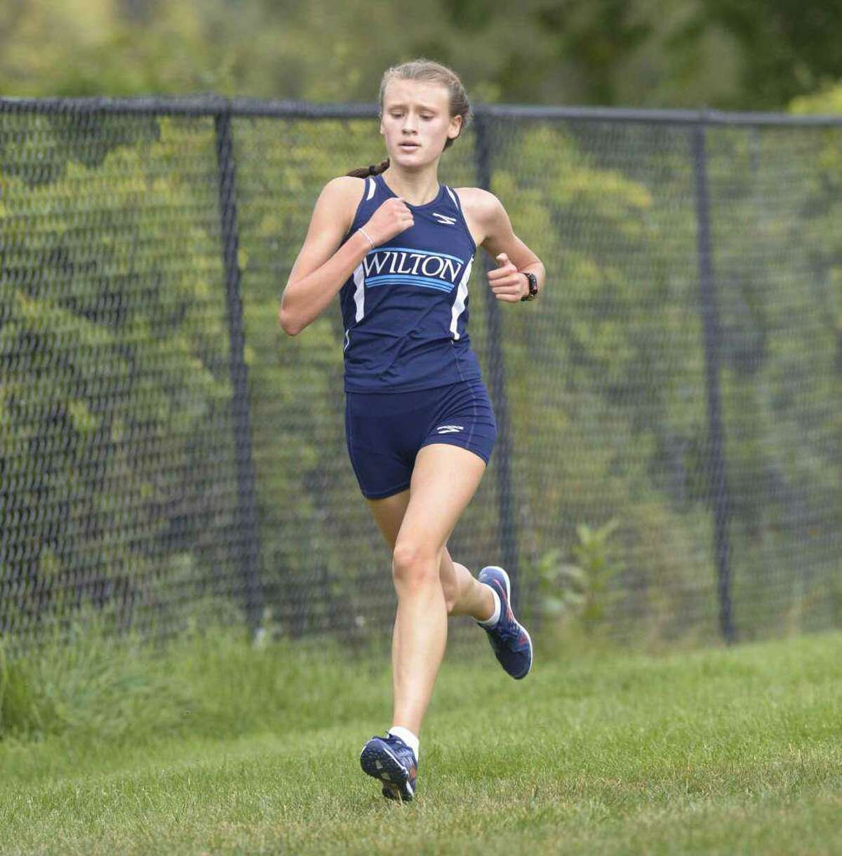 Sophomore Emily Mrakovic was Wilton's top finisher at the State Open girls cross country championship meet.