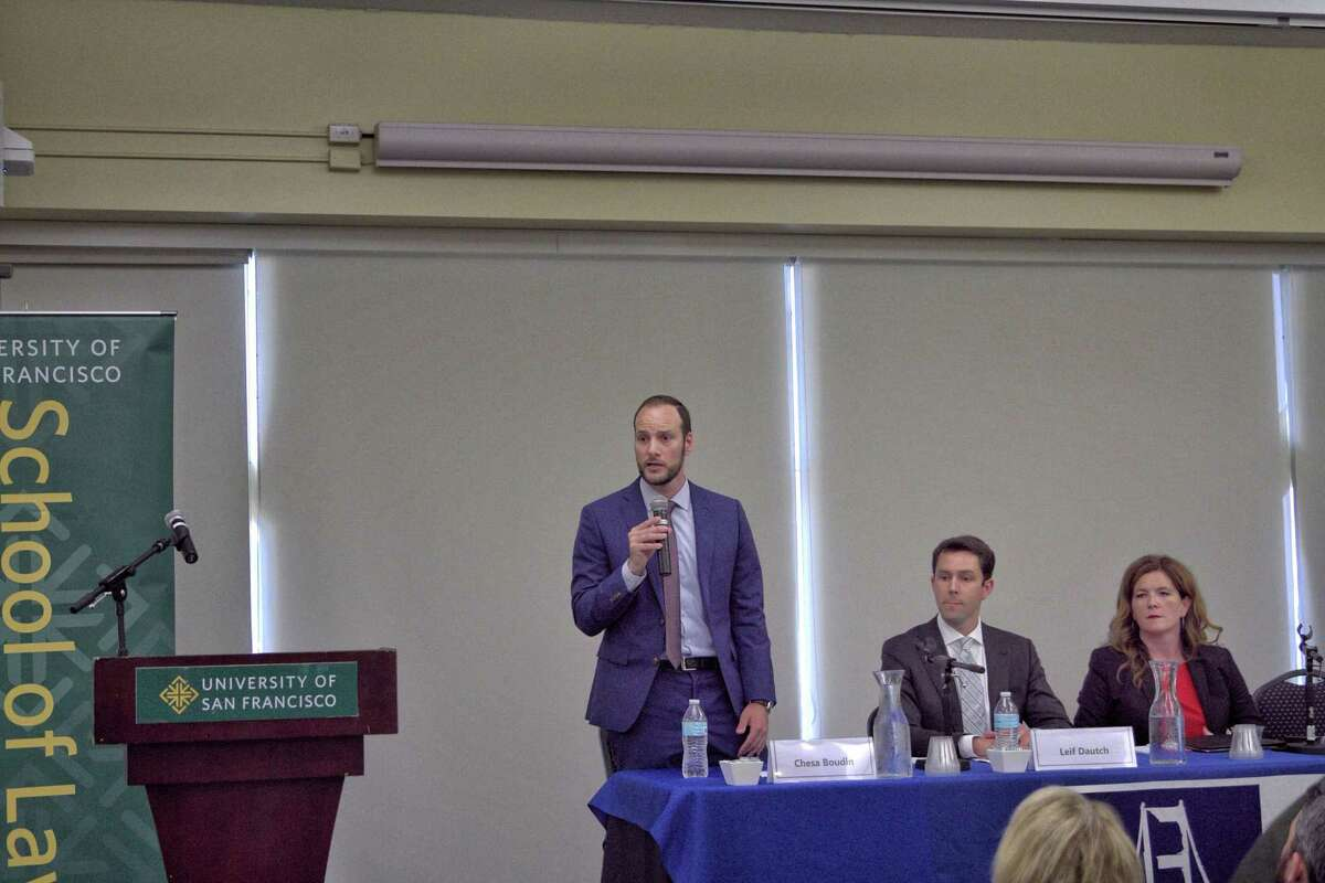 Chesa Boudin speaks during the San Francisco District Attorney Debate on Sept. 9. The 39-year-old public defender grew up visiting his parents in prison, a perspective he believes could help him address issues in the justice system.