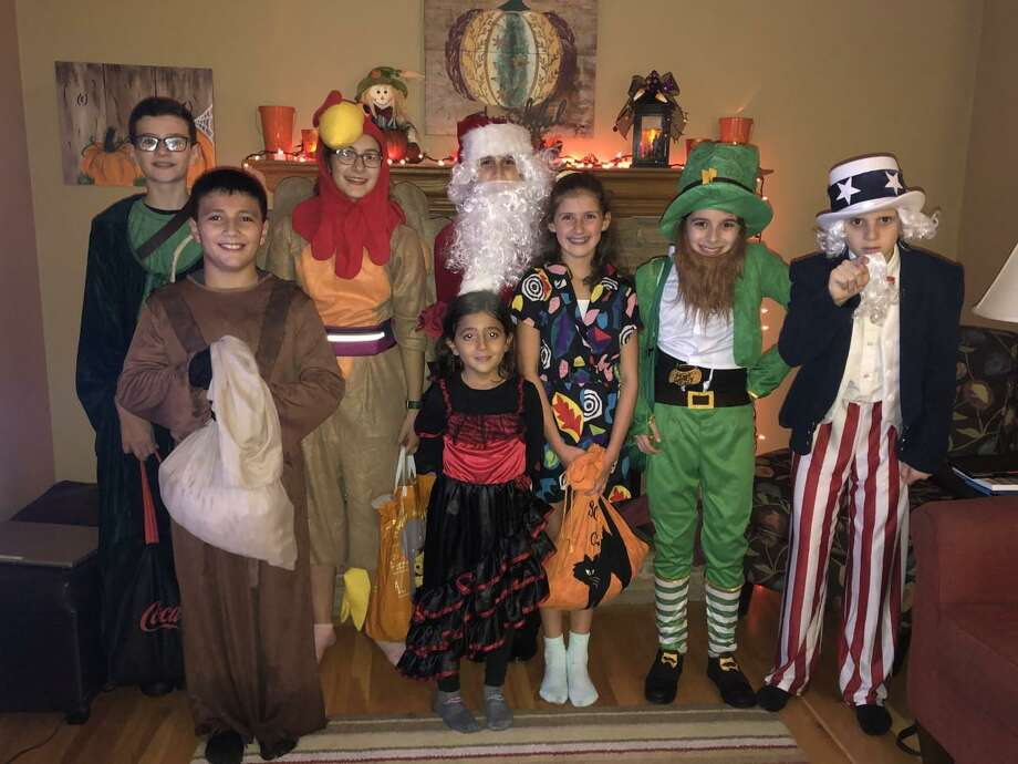 Celebrating Halloween on Thursday, Oct. 31 were: Front row: Vincent Cipriani (11), Vanessa Cipriani (7); Back row: Emmett White (12), Sophia Hatzis (14), Tommy DeFelice (13), Sydney Laganza (12), Luke Hatzis (12) and Joseph DeFelice (12). Photo: Contributed Photo