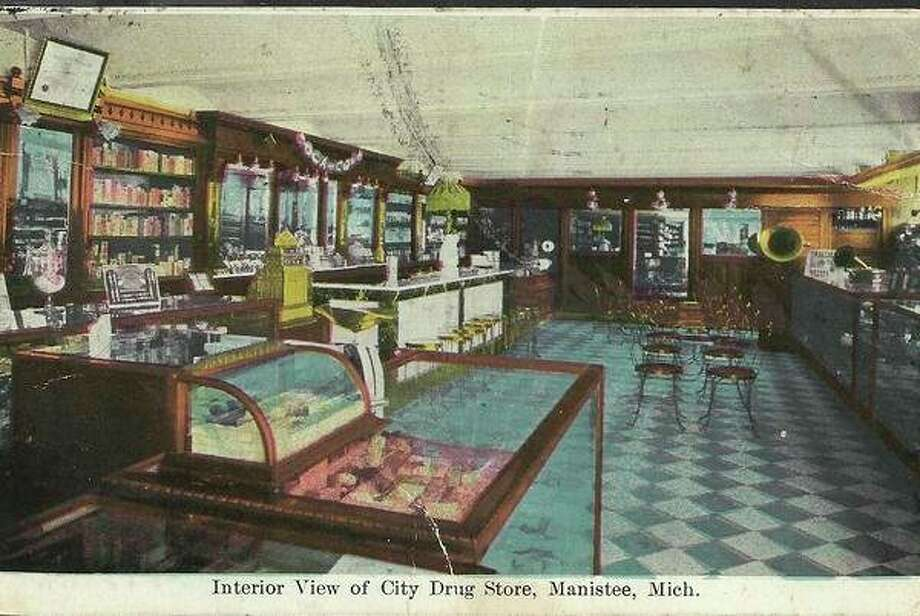 The interior of the City Drug Store that was located on the corner of Maple and River streets in what is known as T.J.'s Pub today is shown in this early 1900 photograph.