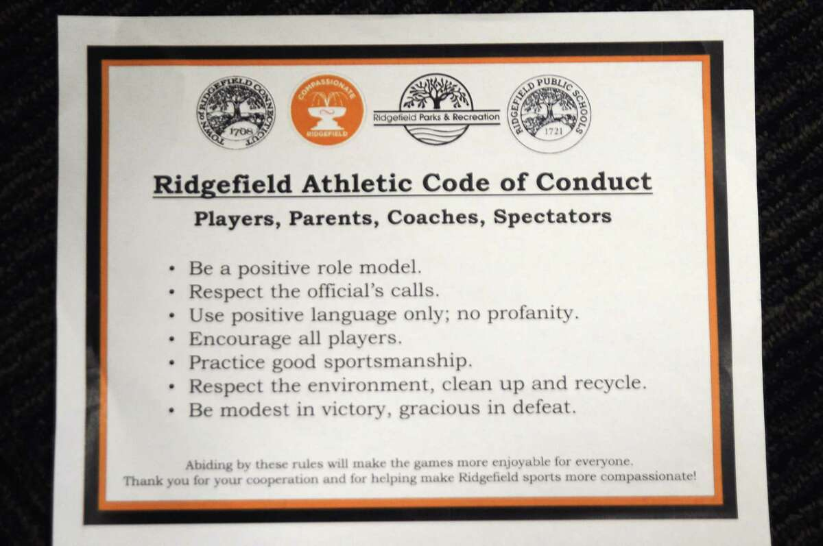 Signs setting out rules for behavior at sports fields and gyms are being proposed by the Compassionate Ridgefield alliance. The four seals at the top are for the town, schools, Parks and Recreation Department and Compassionate Ridgefield.