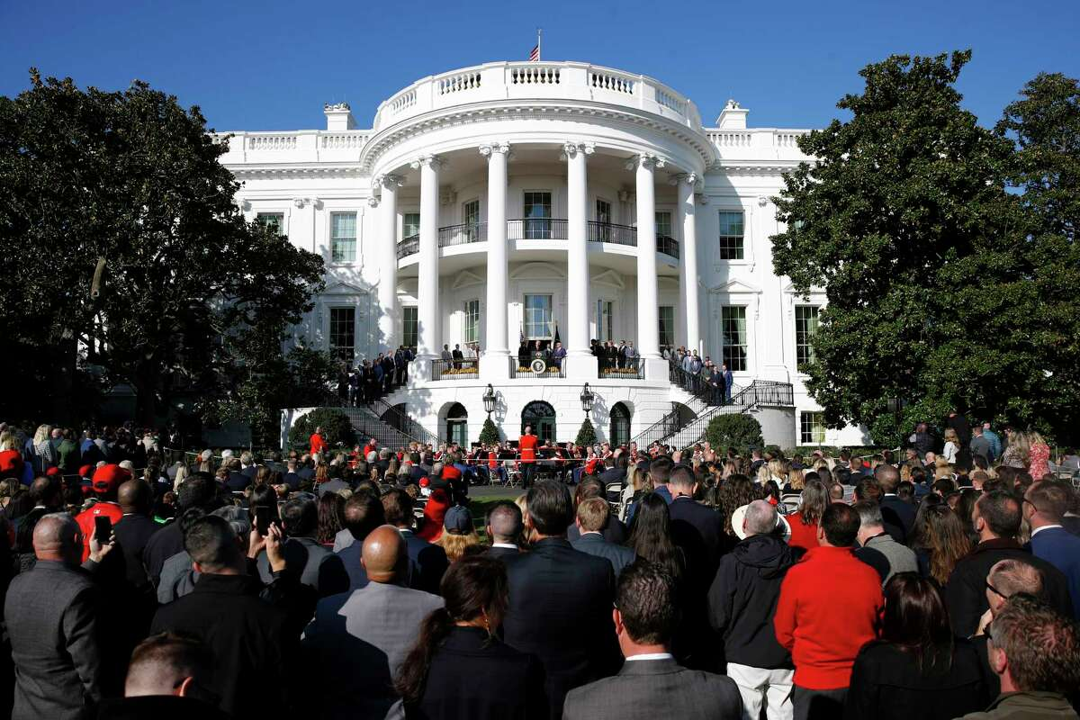 President Donald Trump speaks during an event to honor the 2019 World Series champion Washington Nationals at the White House, Monday, Nov. 4, 2019, in Washington. (AP Photo/Patrick Semansky)