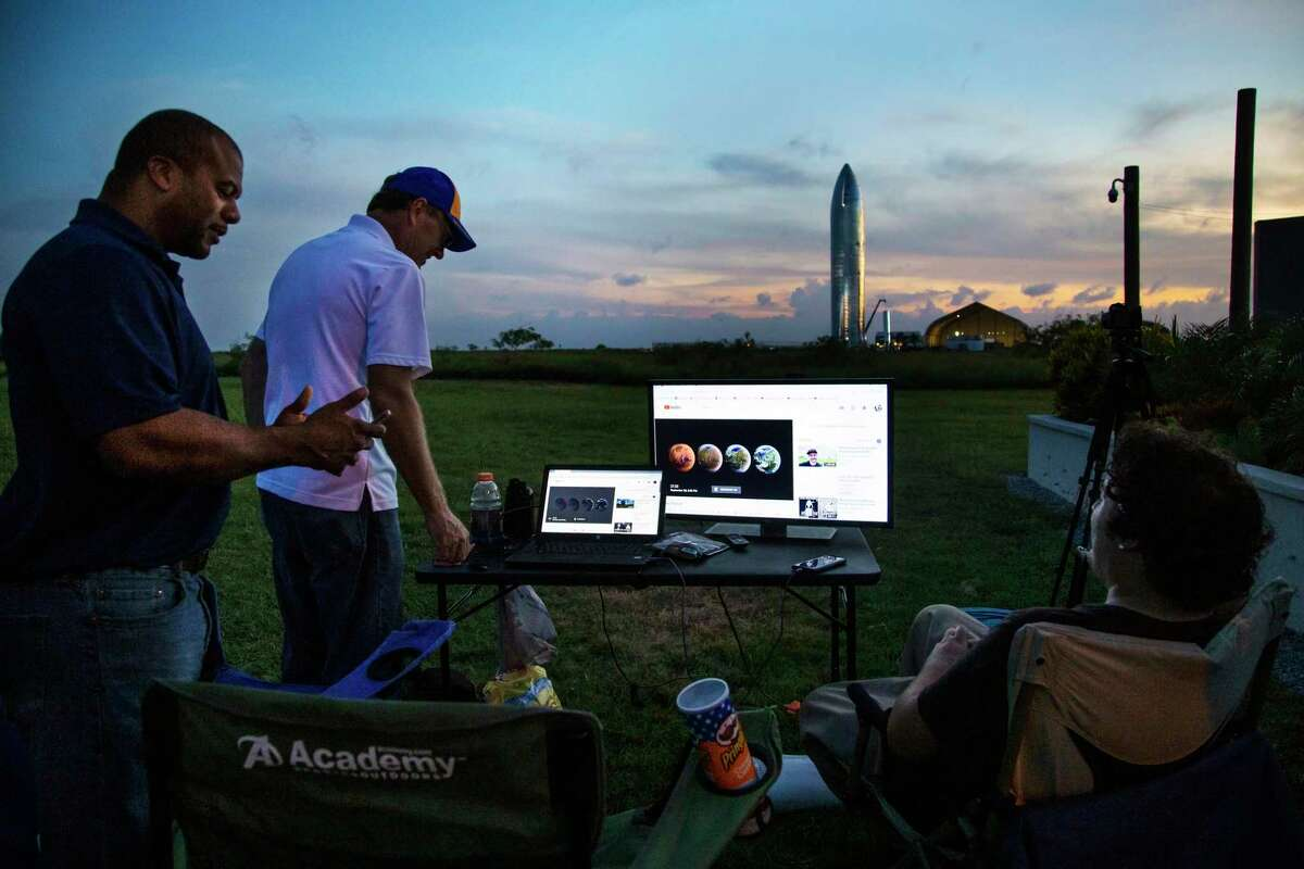 James Seargent and John Randolph attend a SpaceX Starship event watch party on Saturday, Sept. 28, 2019, in Boca Chica.