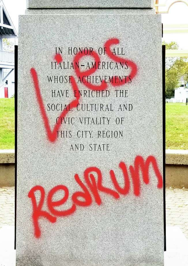 The base of the Christopher Columbus statue at Harbor Park in Middletown was vandalized shortly after Columbus Day this year with red spray paint. Photo: Photo Courtesy Bill Corvo