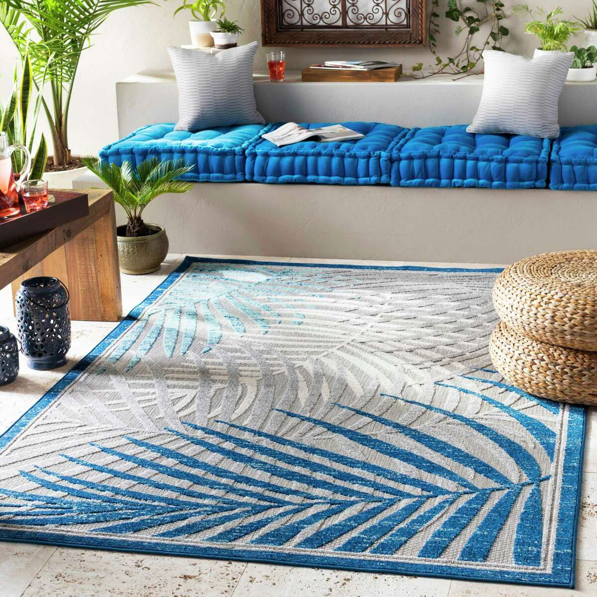 Surya's Big Sur rug ($160 for a 5'x8') has a tropical style. It was part of new collections shown at the Fall 2019 High Point Market.