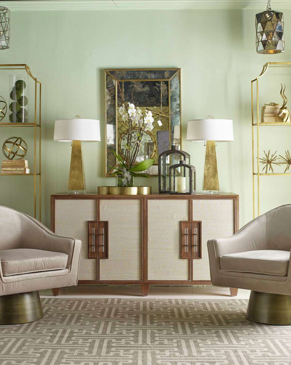 The Clark console by Worlds Away includes caning details on its doors. It was part of new collections shown at the Fall 2019 High Point Market.