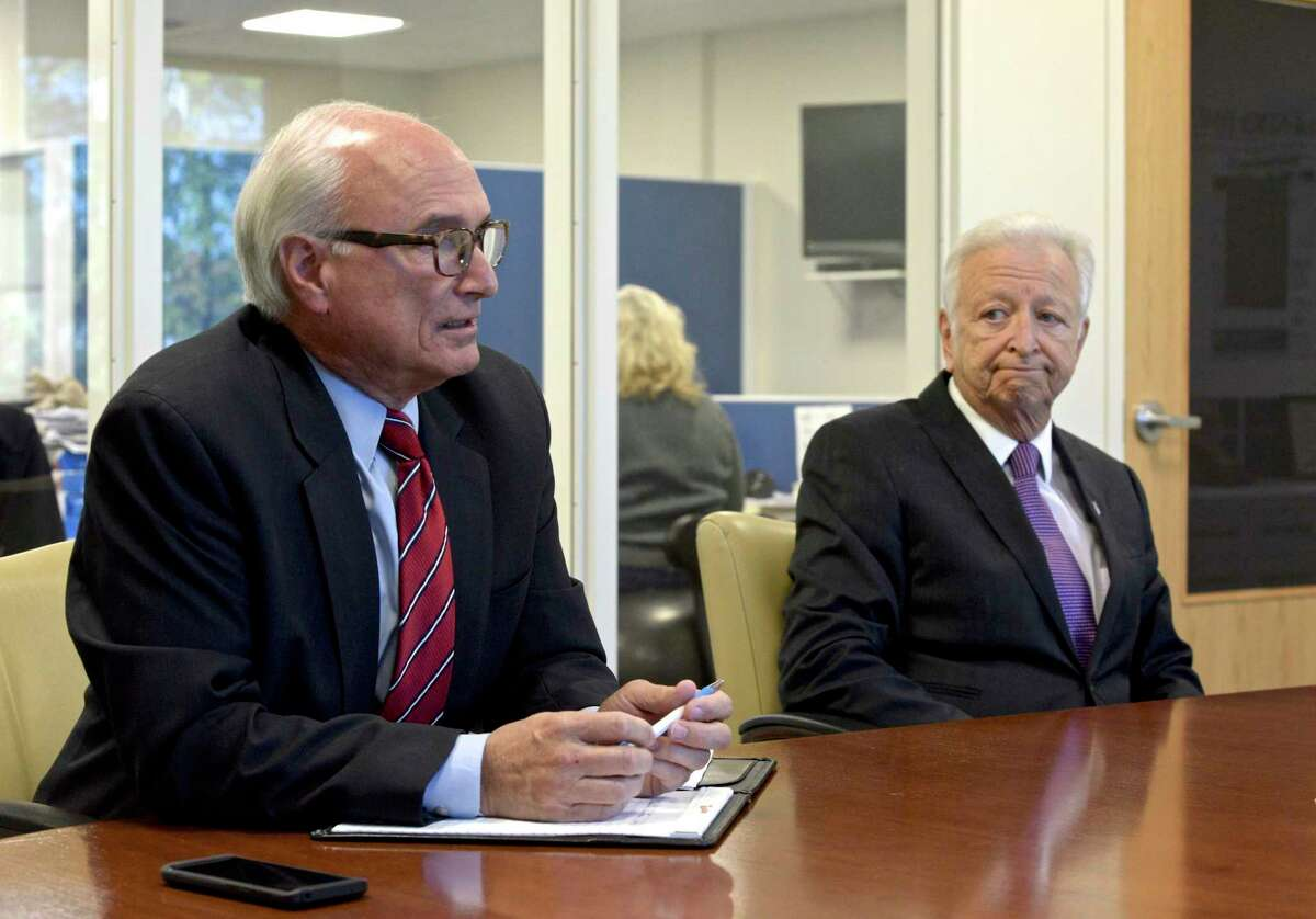 Candidates for Ridgefield first selectman, Democratic incumbent Rudy Marconi and Republican challenger Rich Moccia during editorial board interview. Monday, October 21, 2019, in Danbury, Conn.