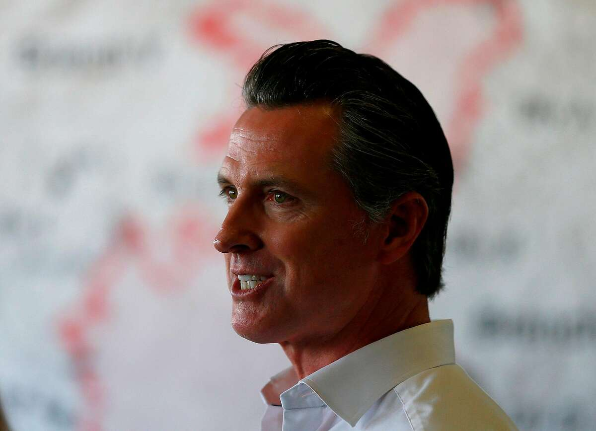 California Gov. Gavin Newsom speaks with reporters in Healdsburg, Calif., after surveying Kincade fire devastation in Sonoma County on October 25, 2019. (Luis Sinco/Los Angeles Times/TNS)