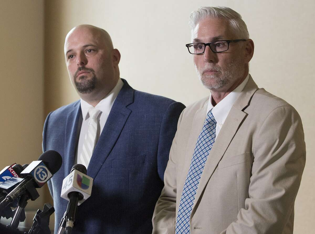 Nicholas Poehl, left, and Robert Barfield , attorneys of accused Santa Fe High School shooter Dimitrios Pagourtzis, speak during a press conference after Judge John Ellisor announced the murder trial of Pagourtzis will be moved to Fort Bend County on Friday, June 21, 2019, in Galveston.