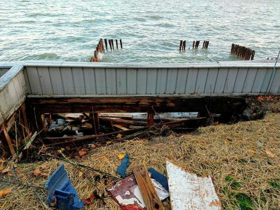 A photo shows some of the damage caused by a recent storm surge in Sand Point. (Rob Hohman/Courtesy Photo)
