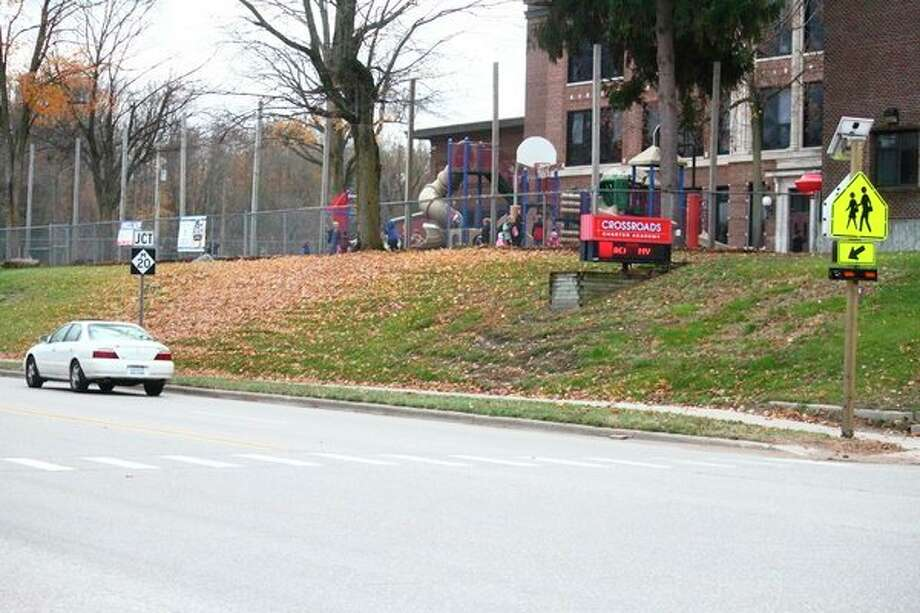 The city of Big Rapids is meeting with MDOT to discuss safety concerns for the intersection at North State and Pine Streets after Ashlyn Bowman was hit by a car on Wednesday, Oct. 23. (Pioneer photo/ Catherine Sweeney)