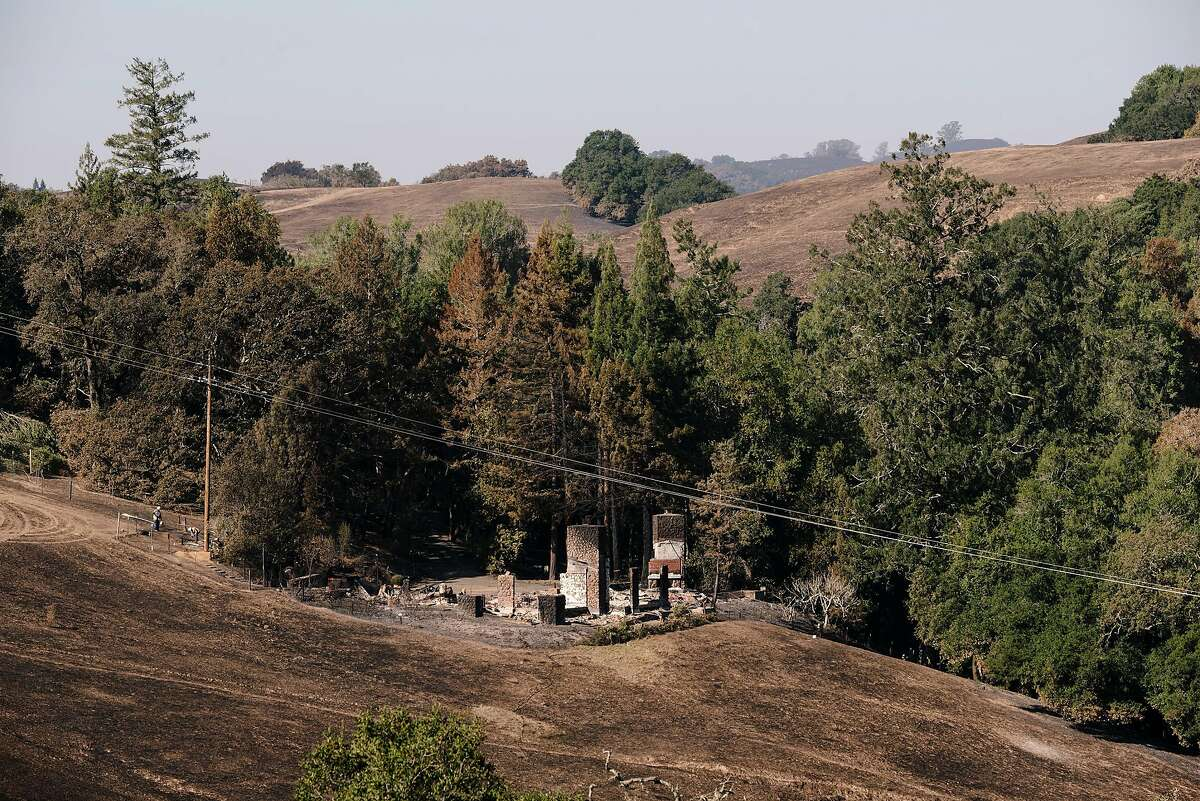 A burned out building is seen off of Chalk Hill Road in Healdsburg, California, on Monday, November 4th, 2019.