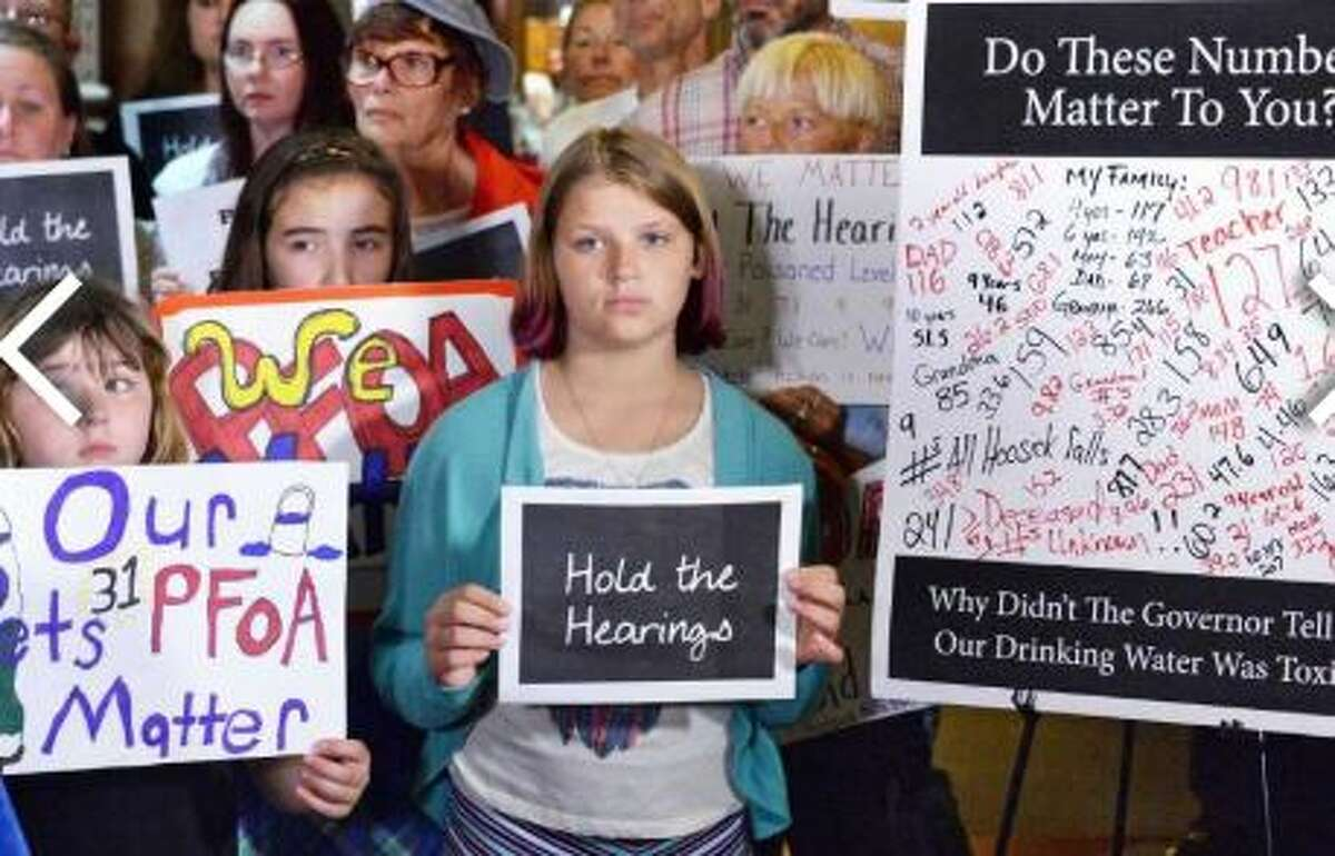 Hoosick Falls residents rally at the Capitol to call for hearings on PFOA Wednesday June 15, 2016 in Albany, NY.