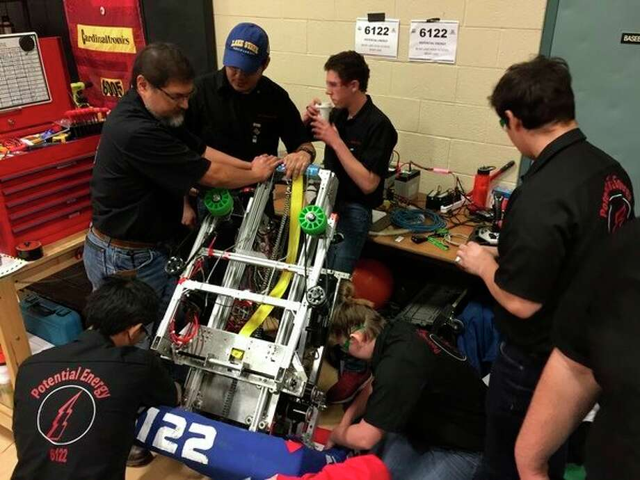 Manistee County Robotics teams are getting ready for the 2020 season that starts on Jan. 4. This year Manistee High School will be adding a team for the first time to join Bear Lake and Brethren who have had high school teams for several years. Manistee Catholic Central and Kennedy Elementary also have teams and are planning on competing this year. This photo shows the Bear Lake team at one of their competitions last year. (File photo)